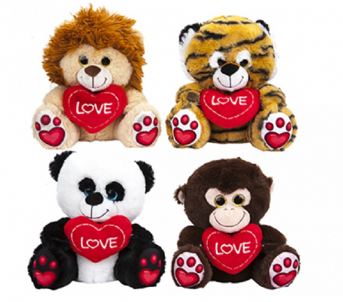 30CM WILD ANIMAL W/ LOVEHEART  AND PRINTED PAWS